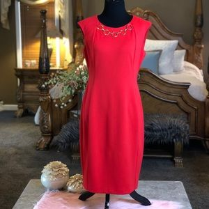 Calvin Klein Red Dress with Gold Necklace Size 8